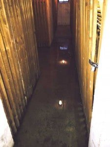 Überschwemmte Kellerabteile