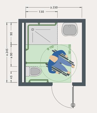 Barriefreies Bad für Rollstuhl